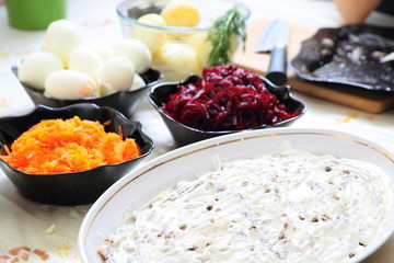 Russian traditional salad 'herring under fur coat'