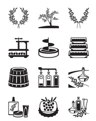Olives and production of olive oil - vector illustration