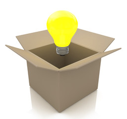 Opened cardboard box with lit light bulb, thinking