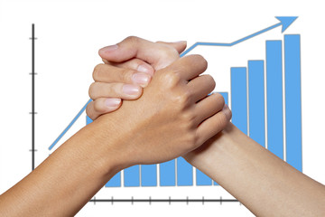 Partner hand on graph background