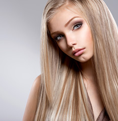 Pretty  face of teen girl with long white hair