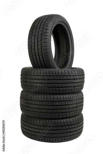 Set of tires isolated on white - 80280679