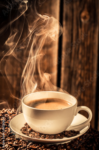Aroma cup of coffee with roasted grains - 80280809