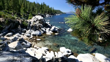 Shoreline of Lake Tahoe with Natural Audio in the Background