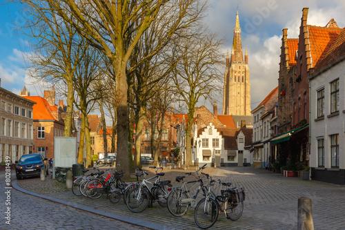 Walplein square of Brugge, Belgium.