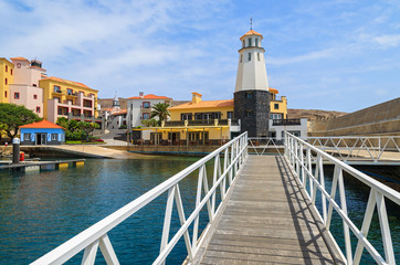 Lighthouse in beautiful port, Madeira island, Portugal