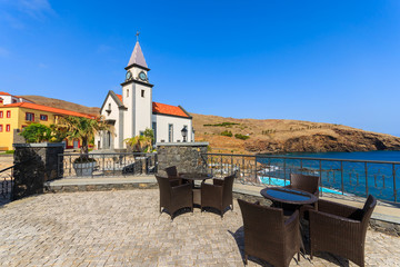Typical church in a village on coast of Madeira island, Portugal