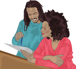Man & Woman Reading