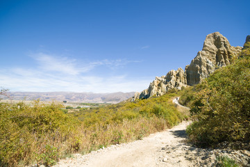 Omarama Clay Cliffs, walking path to natural landmark