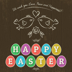 Greetings card for Easter Day with eleven colored eggs.