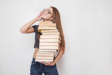 happy girl with books