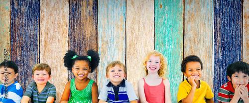 Leinwanddruck Bild Diversity Children Friendship Innocence Smiling Concept