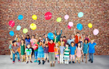 Multiethnic Children Smile Happiness Friendship Balloon Concept
