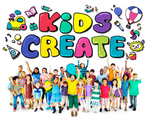 Kids Create Creativity Design Ideas Colorful Concept