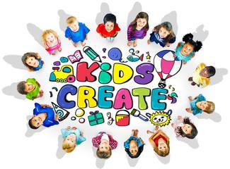 Kids Create Cretivity Design Ideas Colorful Concept