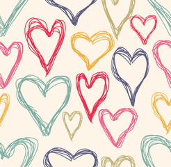heart doodle seamless background
