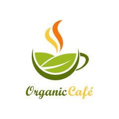 organic cafe symbol vector logo