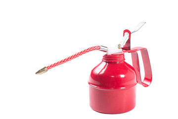 red spray gun isolated over white background