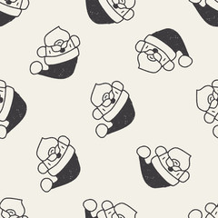 Santa Claus doodle drawing seamless pattern background
