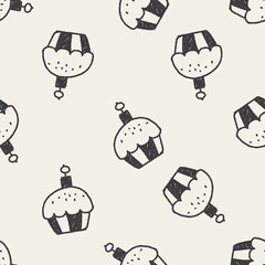 cupcake doodle drawing seamless pattern background