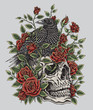 Crow, Roses and Skull Tattoo Design - 80289459