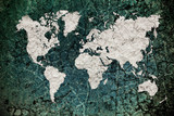 vintage world map with wall background poster