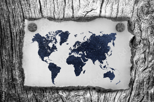 vintage paper  with world map on wall - 80289465