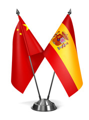 China and Spain - Miniature Flags.