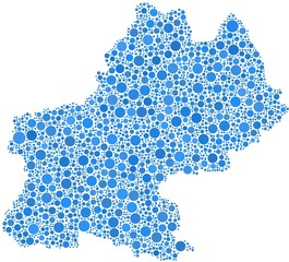 Map of Midi-Pyrenees in a mosaic of blue bubbles