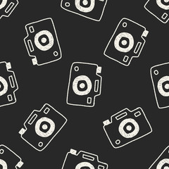 camera doodle drawing seamless pattern background