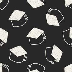 graduation cap doodle drawing seamless pattern background