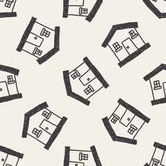 house doodle drawing seamless pattern background