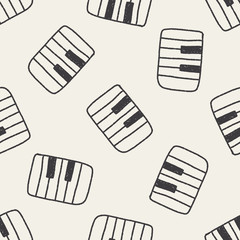 piano doodle drawing seamless pattern background