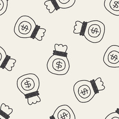 money bag doodle drawing seamless pattern background