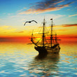 Sailboat against beautiful sunset landscape - 80291201