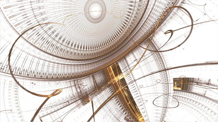 mechanism, golden cogwheels and gears