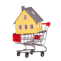 House in shopping cart isolated. Mortgage concept