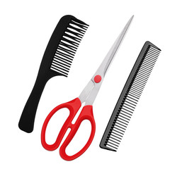 Red scissors and combs isolated on white