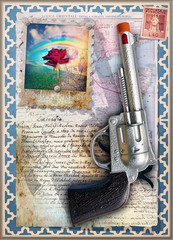 Collage and scrap with gun and red rose stamp