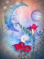 Starry moon,snow flake ,planet and tropical flowers.