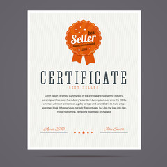 Best seller certificate with stamp.