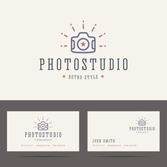 Photo studio logo in retro hipster style and business card templ