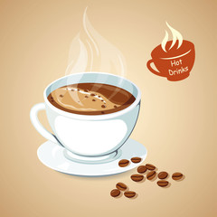 Hot coffee with coffee bean