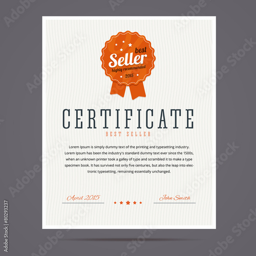 Best seller certificate with stamp. - 80293237