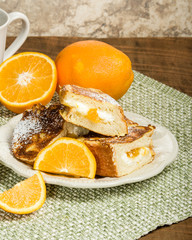 Orange marmalade stuffed toast