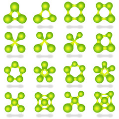 Set 16 abstract green icons.