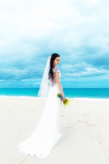beautiful fiancee in white wedding dress with big long white tra