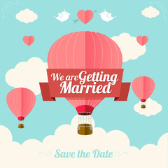 Vector. Pink hotair ballons fly with clouds.  Wedding card. Flat
