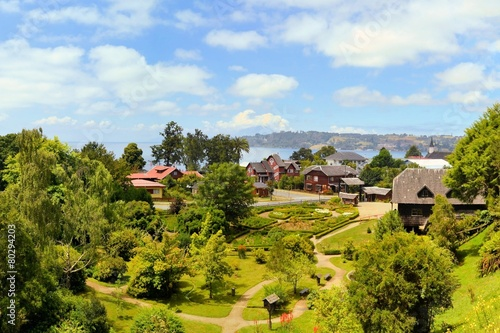 Town settled by German immigrants, Frutillar, Chile. - 80294203