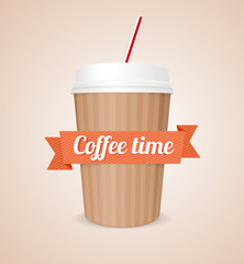 Vector coffee paper cup.